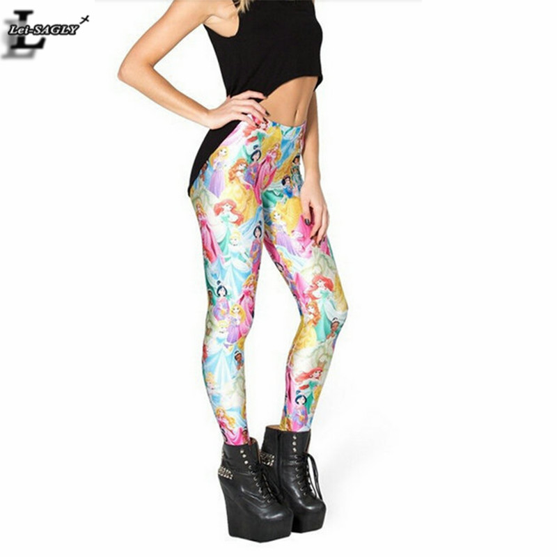 New Design Cartoon Princess Printed Leggings Gothic Creative Punk Fitness Women  Sexy Cute Girl Pants Brand Clothes BL-470