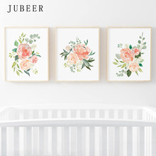 Watercolor Flowers Posters and Prints Set Of 3 Floral Prints Nursery Wall Art Pictures Bedroom Decoration Scandinavian Decor(China)