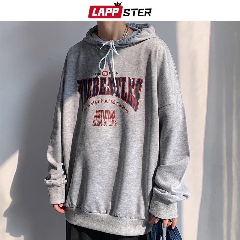 LAPPSTER Men Harajuku Streetwear Sweatshirts Hooded Hoodies 2020 Mens Korean Oversized Hip Hop Sweatshirt Vintage Casual Hoodie