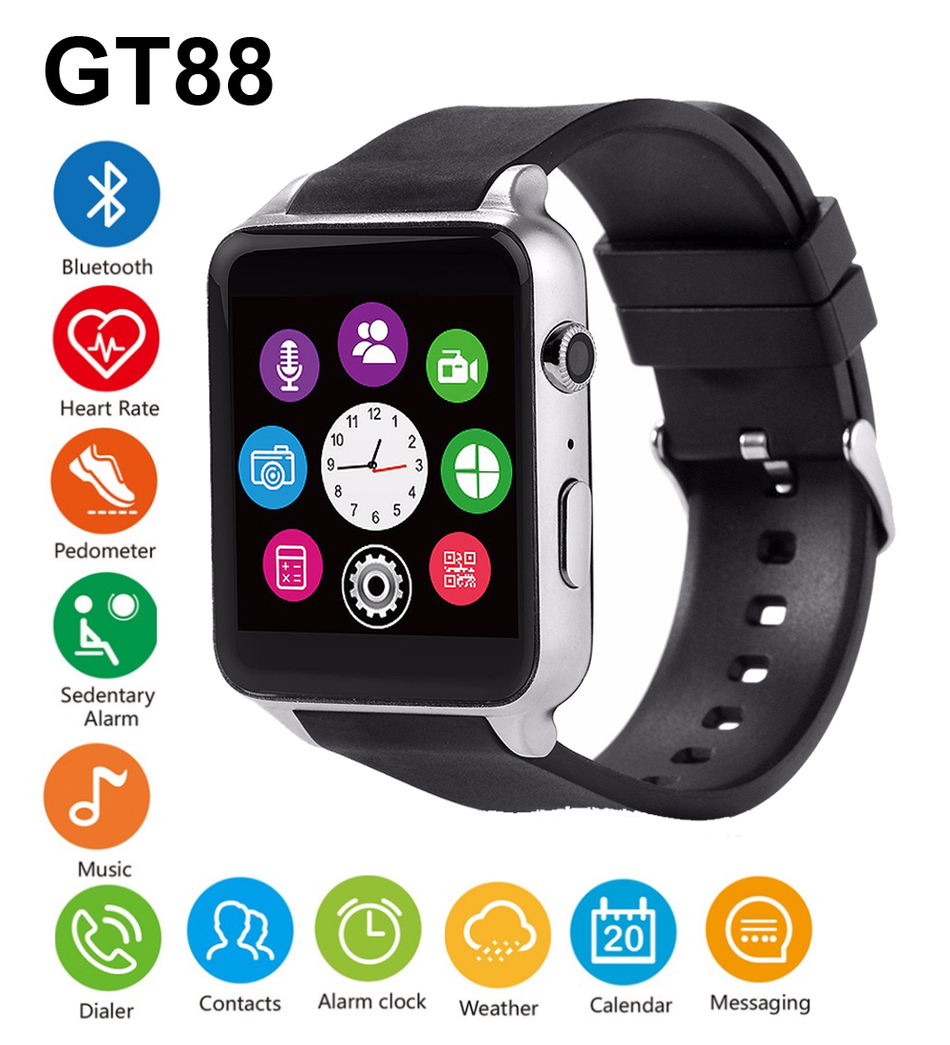 GT88 Bluetooth Smart Watch Waterproof Heart Rate Sleep Monitor Support TF/SIM Card Smartwatch for iPhone 5s 6s 7 for Samsung S7