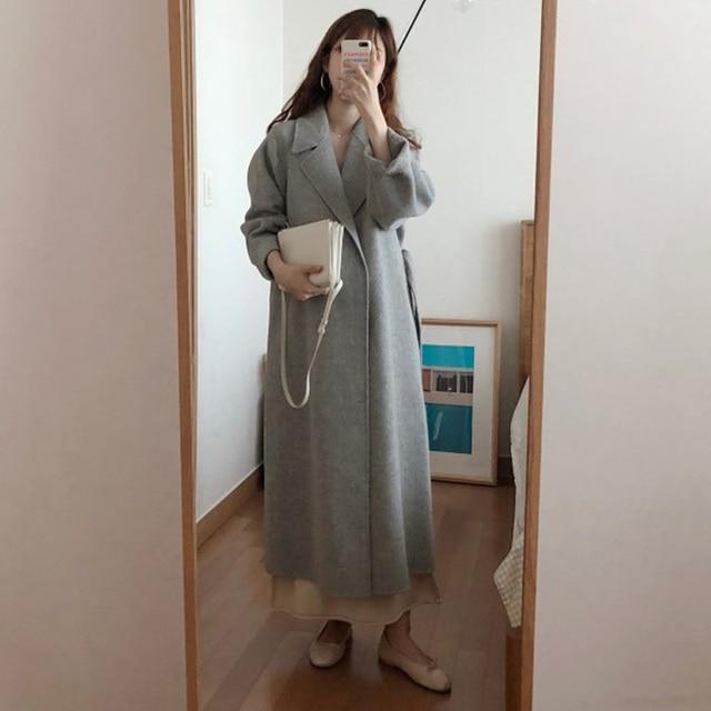 Women Korean Winter Long Overcoat Outwear Coat Loose Plus Size Cardigans Long Sleeve Manteau Femme Hiver Elegant 3