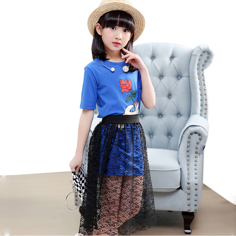 Baby Summer Clothes New Fashion Girls Princess Dress Suit Rose Print Garment + Lace Yarn Skirt 3-12Y A0011 le suit new vanilla textured straight skirt 12 $89 dbfl