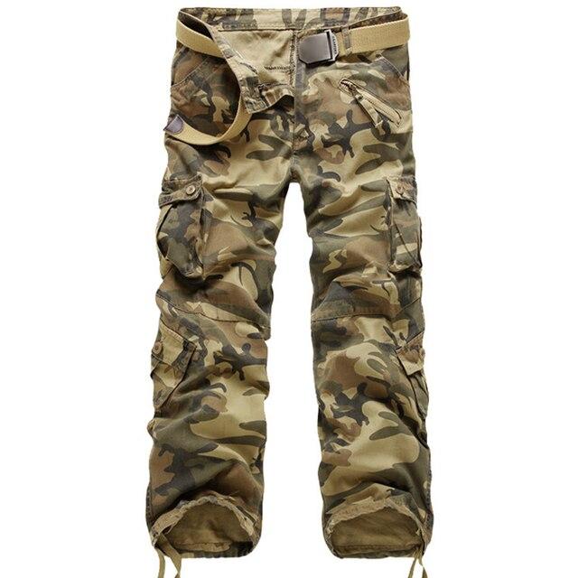 Nova Marca Calças Dos Homens de Carga Militar Calças Retas Dos Homens Algodão Ocasional Camuflagem Multi-Bolso Calças Compridas Camo Lavada Trouers