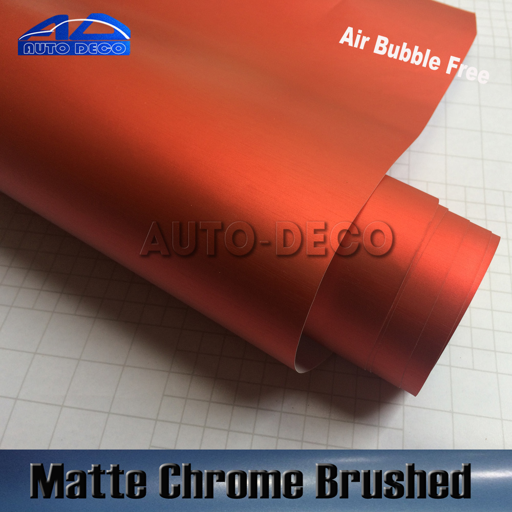 High Quality Brushed Matte Chrome Car Wrap Red Vinyl Film Auto Body Sticker With Air Channel FedEx Free Shipping 1.52*20m/roll quality guarantee silver chrome vinyl film for car wrapping sticker with air bubble free 20m roll