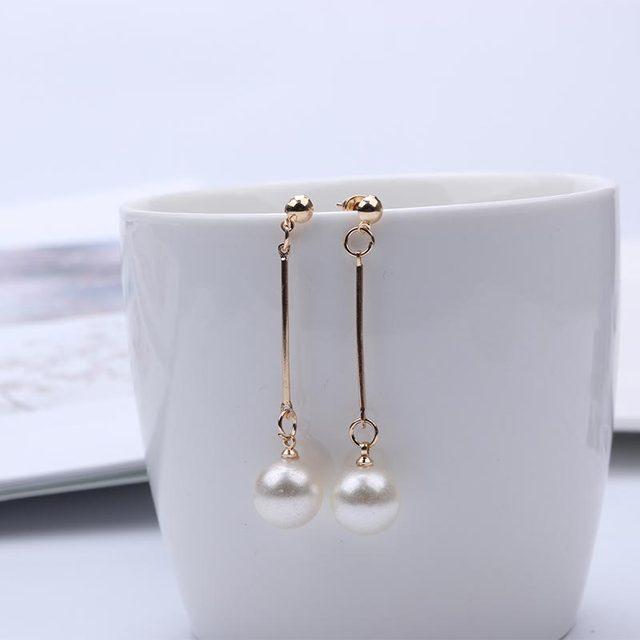 Pearl Long Drop Dangle Earrings 2