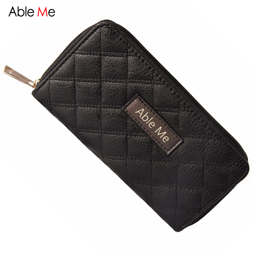 2017 AbleMe Fashion Ladies Long Wallet Female Money Pocket Purse Thread Leather Zipper Card Holder Women Purse simline fashion genuine leather real cowhide women lady short slim wallet wallets purse card holder zipper coin pocket ladies