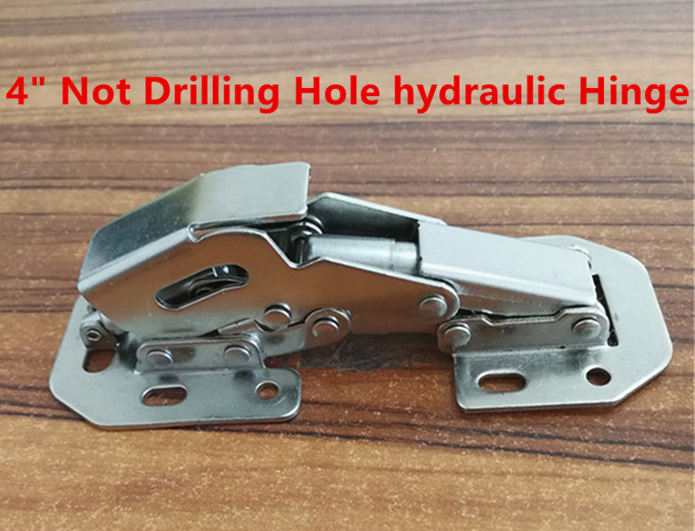 Hydraulic 4 inch 90 Degree Not Drilling Hole  Furniture Hinges Door Hinges 2pcs set stainless steel 90 degree self closing cabinet closet door hinges home roomfurniture hardware accessories supply