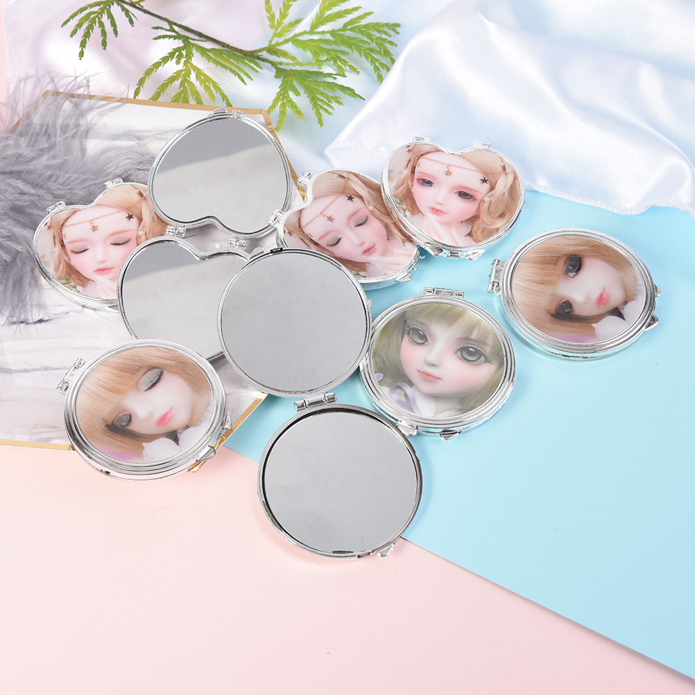 Schminkspiegel Doppelseitige Runde Mini Tasche Fodable Spiegeln Herzförmige Design Mini Taschenkosmetikspiegel Kosmetische Kompakte Spiegel Zufällig Verbraucher Zuerst
