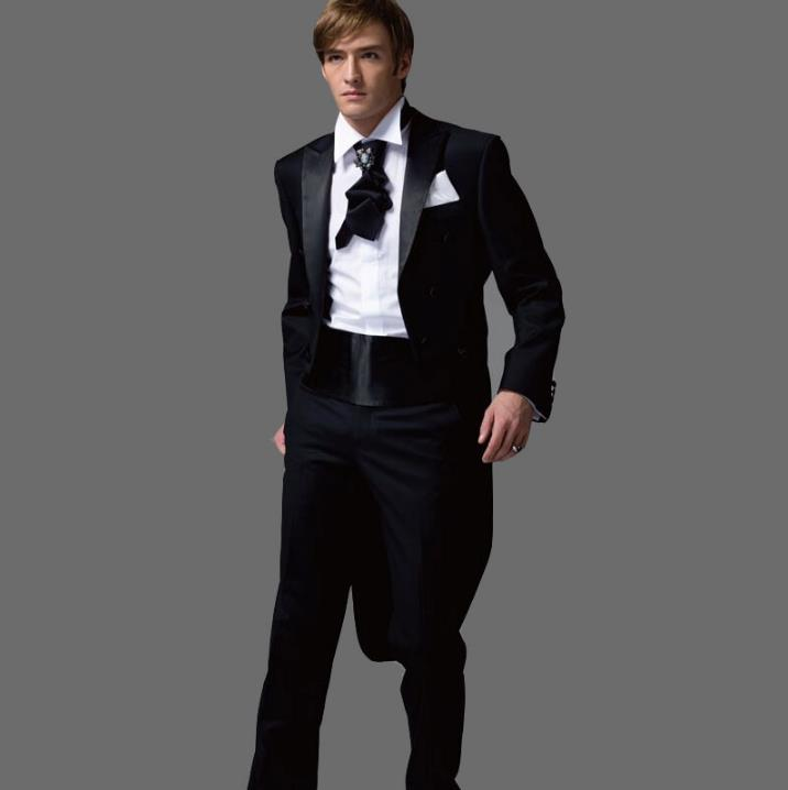 White Black Stage Clothing For Men Suit Set With Pants Mens Wedding Suits Costume Groom Tuxedo Formal Dress Suit + Pant + Tie