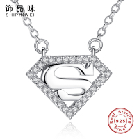 Shipinwei Authentic Quality 925 Sterling Silver Superman Pendant Necklace For Women Men Heart Necklace Chain Fashion