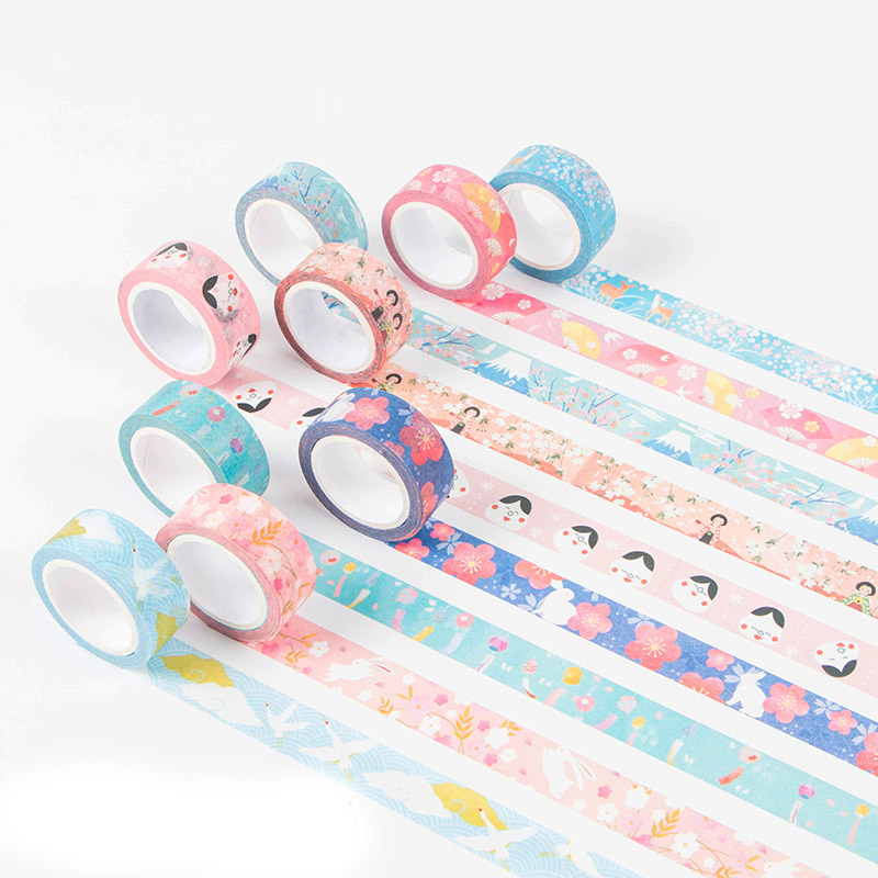 7m*15mm DIY Vintage Decorative Adhesive Washi Tape Japanese Cherry Flowers Masking Tape For Decoration Dairy Scrapbooking 15mm 7m cute kawaii flowers cartoon masking washi tape decorative adhesive tape decor decora diy scrapbooking sticker label