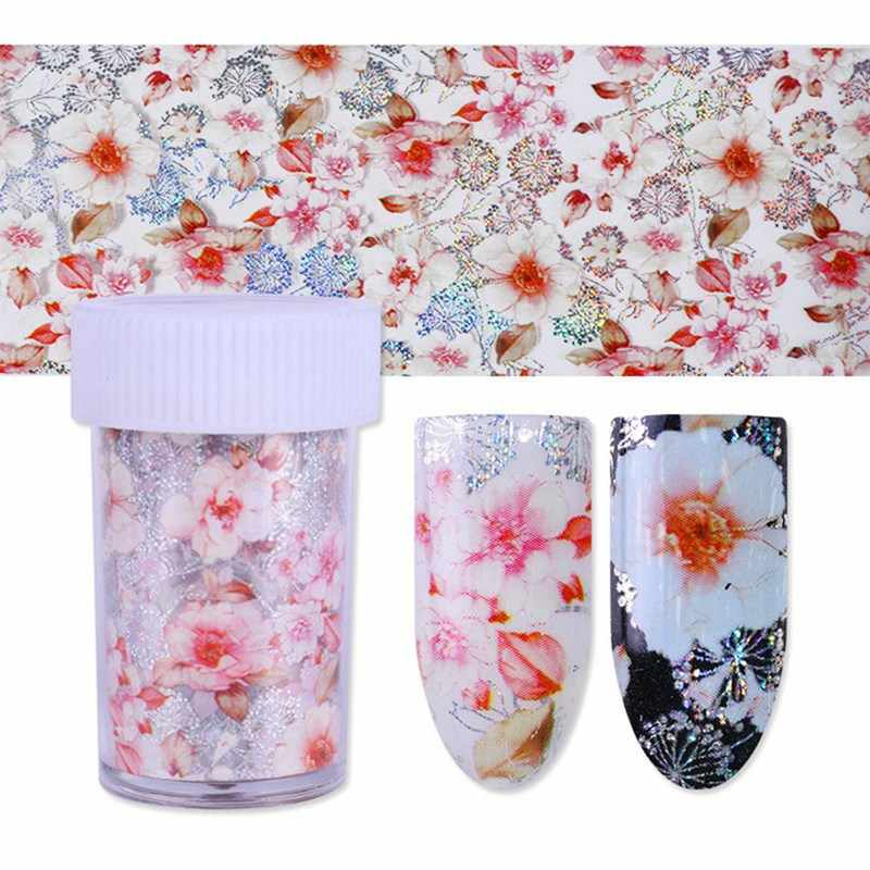1 Bottle Holographic Flower Starry Nail Foil 4*100cm Colorful Feather Floral Transfer Sticker Manicure Nail Art Decoration