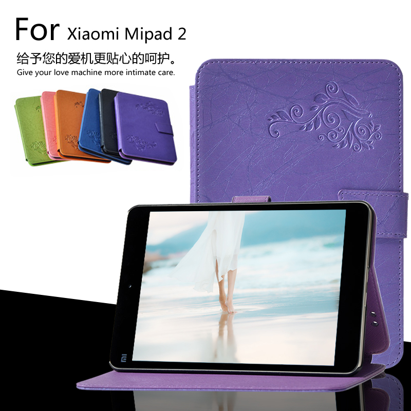 For Xiaomi Mipad2 Mipad3 7.9 inch mipad 2 Mipad 3 Printing Pattern Stand Cover Protective Print Flower Leather Case + Film