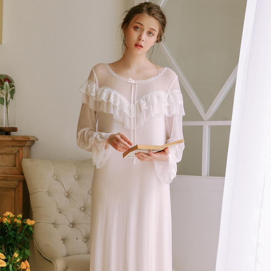 2019 Autumn Women Long   Nightgowns   Palace Princess   Sleepshirts   Sleeping Dress Soft Cotton Mesh Nightdress Sexy Dress r1460