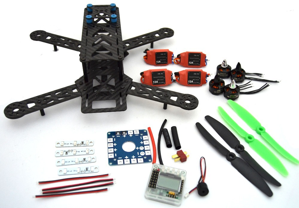 Carbon Fiber Mini QAV250 C250 280 Quadcopter EMAX 1806 Motor and  simonk12A Esc Flight Control Prop FPV mini zmr250 carbon fiber quadcopter cc3d evo control mt2204 2300kv motor emax blheli firmware 20a esc 5045 prop led lights board