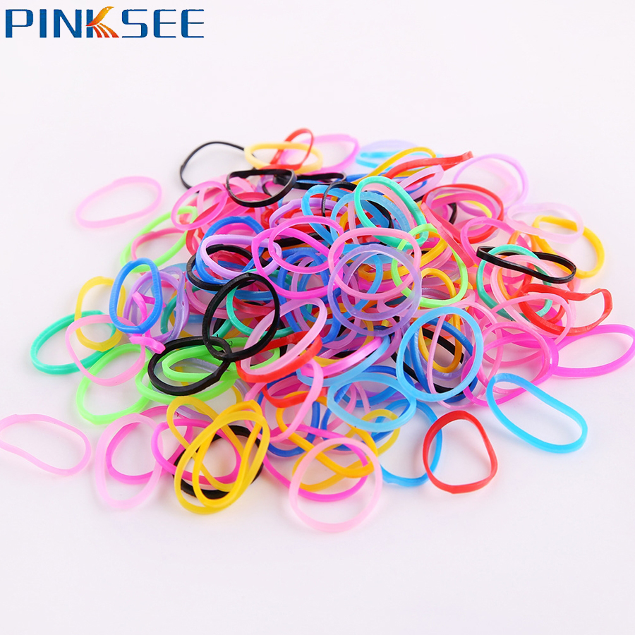 300 500pcs pack Rubber Rope Ponytail Holder Elastic Hair Bands Ties Braids Plaits hair clip headband Hair Accessories For Kids in Hair Jewelry from Jewelry Accessories