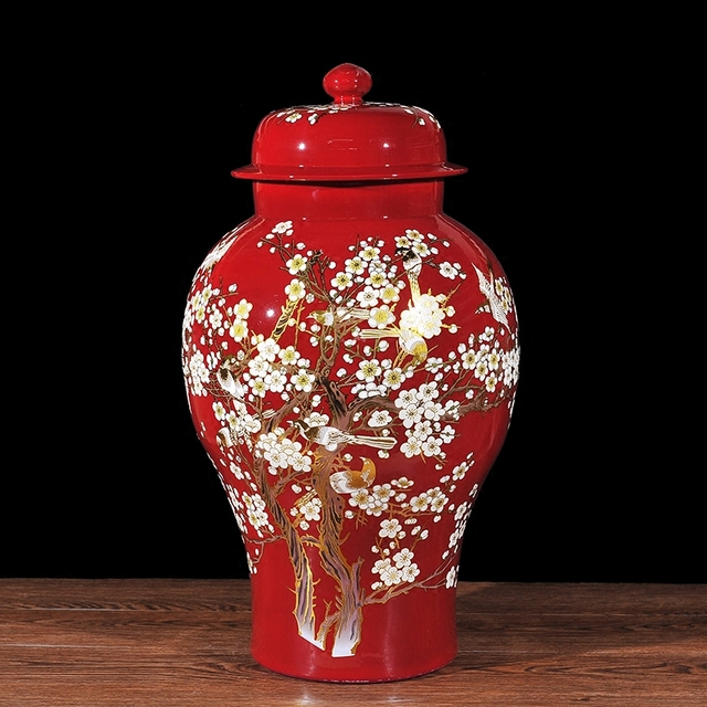 Chinese Temple Jar Bird And Flower Ceramic Lid Plum Blossom Painting Ginger Vase To
