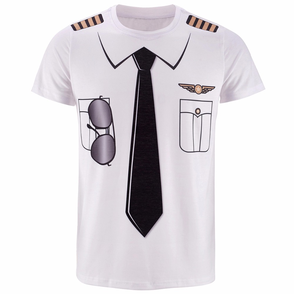 Män Pilot Uniform 3D T-shirt Halloween Cop Sheriff Pirat Novelty Cos Top Kläder