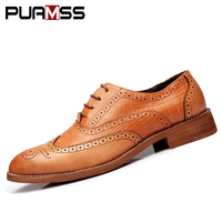 2018 New Men Dress Shoes Handmade British Brogue Style Paty Leather Wedding Shoes Men Flats Leather Oxfords Formal Shoes