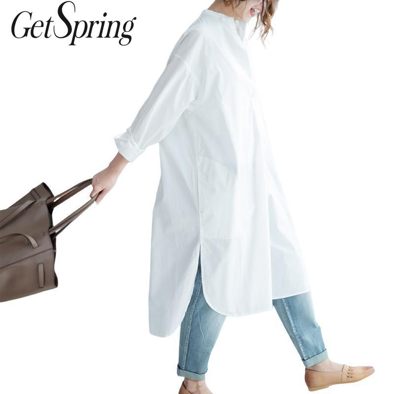 GetSpring Women Shirt Dress Long Sleeve Dress Long Loose Asymmetric Casual Women Shirt Dress White Summer Cotton Plus Size cotton shirt dress long
