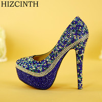HIZCINTH Wedding Shoes Bride Pumps Evening Wear High Heels Blue Crystal Diamond Marriage Women's Shoes Single Plataformas Mujer