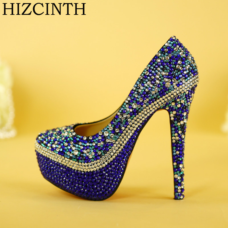 HIZCINTH Wedding Shoes Bride Pumps Evening Wear High Heels Blue Crystal Diamond Marriage Women's Shoes Single Plataformas Mujer