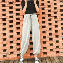 Spodnie do biegania kobiety harem biegaczy dresowe damskie spodnie dresowe damskie spodnie dresowe streetwear odzież młodzieżowa FF1298 tanie tanio Kostki długości spodnie Elastyczny pas Luźne Jersey Harem spodnie Wysoka Plisowana EASTQUEEN COTTON Stałe Skrzydeł