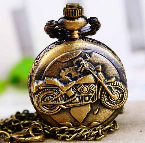Vintage Bronze mini Motorcycle Motorbike Pocket Watch Retro Necklace Pendant Chain MOTO Quartz Watch