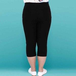Image 2 - حجم كبير الإناث بنطال مرن capris 6XL 5XL نوعية جيدة عالية الخصر النساء المحاصيل سوبر تمتد الصيف العجل طول سروال شكل قلم رصاص