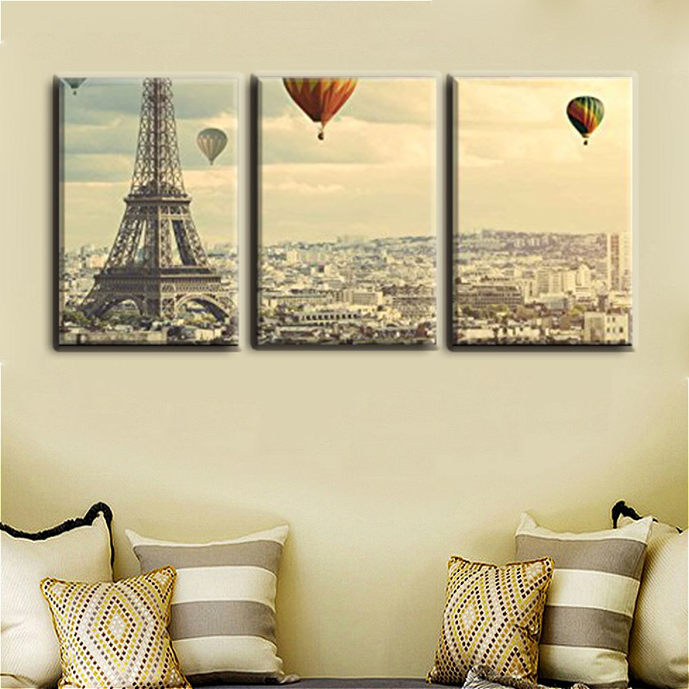 Christmas Decoration Wall Art Famous Paris Tower And Balloon Painting Print For Home Office Decor Canvas Artwork Gifts In Calligraphy From
