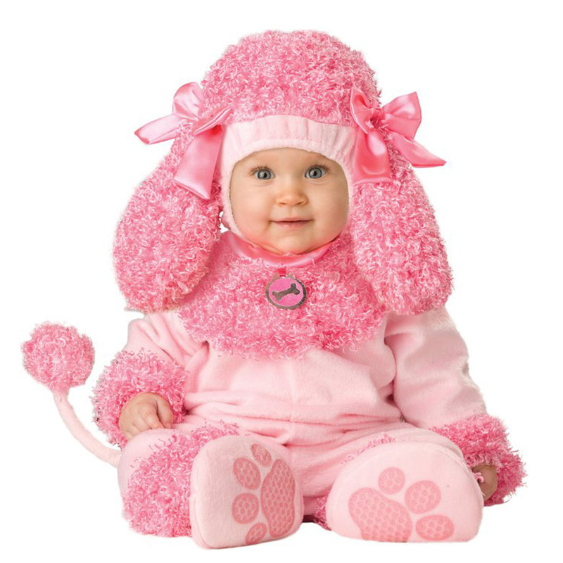 Super Cute Pink Doggy Shapes Costume Cartoon Baby Infant Romper Kids Onesie Suit Animal Cosplay Child autumn winter Clothing twinsbella baby romper 2017 new fashion infant animal penguin cosplay costume child autumn winter christmas jumpsuit clothing