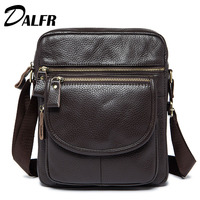 DALFR Genuine Leather Shoulder Bags 12 Inch Casual Messenger Bags Solid Zipper Style Crossbody Bags Water