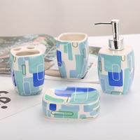 Ванная комната костюм интимные аксессуары керамика мыло диспенсер чашка блюдо зубная щётка держатель набор подарок для ванной семья