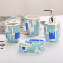 Bathroom Suit Accessories Ceramic Soap Dispenser Cup Dish Toothbrush Holder Set Gift Bath Family Essential Kit Tools