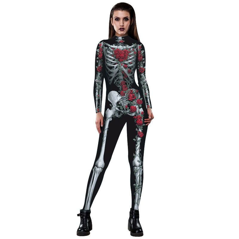 Hallowmas numeral printing Tight clothing rose The skeleton frame pattern Body repair thinness Long sleeve jumpsuits Cosplay