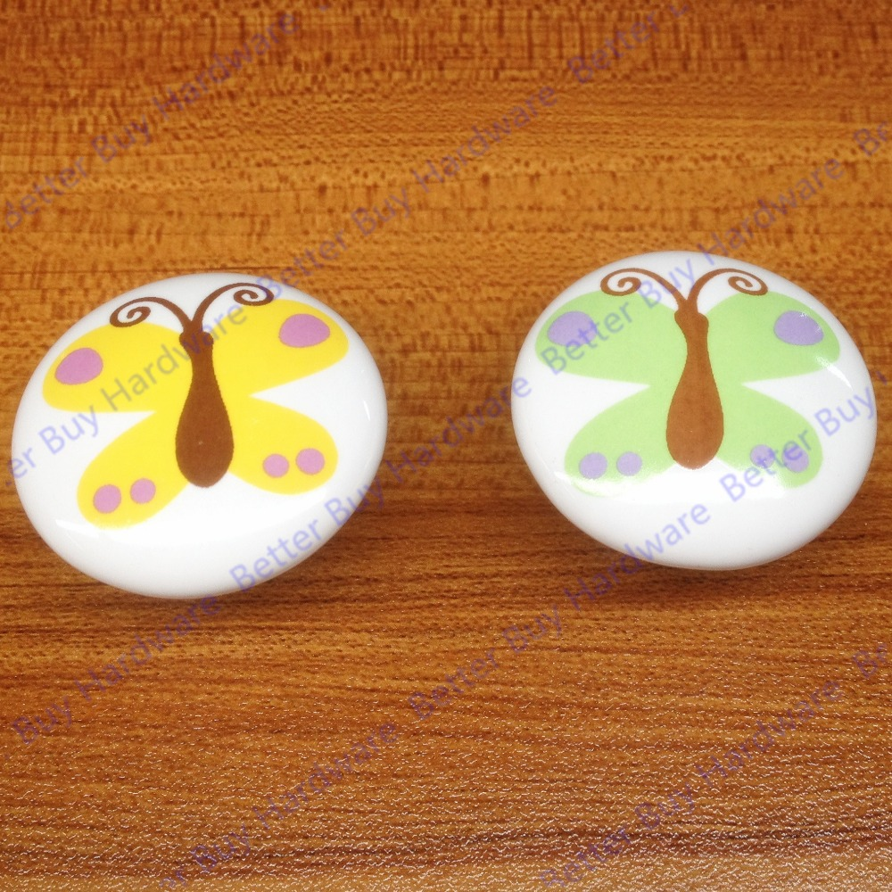 Green butterfly printed Dia 38mm ceramic single hole furniture knob handle pull for cabinets doors drawers