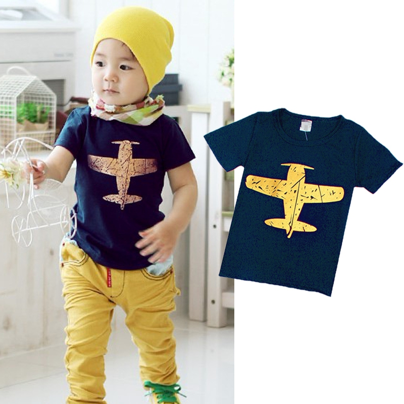 Cartoon T-Shirt Tops Short-Sleeve Baby-Boy Kids Blosue Summer Casual Plane 1-8Y Novelty