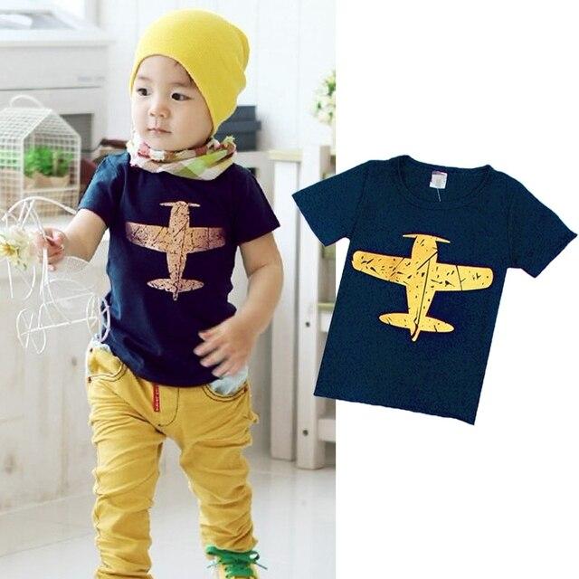 קיץ תינוק ילד קריקטורה חולצה חידוש קצר שרוול ילד ילדים מטוס חולצה חולצה חולצות מקרית Blosue 1-8Y
