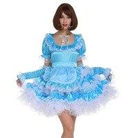Sissy Maid Pale Blue Lockable Dress Puffy Crossdress Cosplay Costume