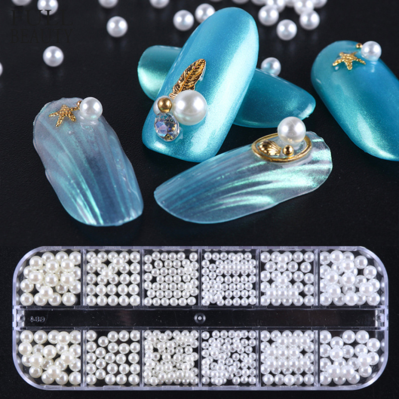 12 Grid 3d Nail Rhinestone Various Size Pearls Charming Nail Art Decoration White Circle Beads Studs Manicure Jewelry Gems CH785(China)