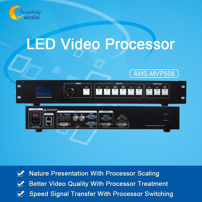 Hot selling video wall controller AMS-MVP508 led video display switcher led screen video processor as novastar v700 best price full color led display outdoor controller dvi video switcher seamless switcher ams mvp508 for ts802d msd300