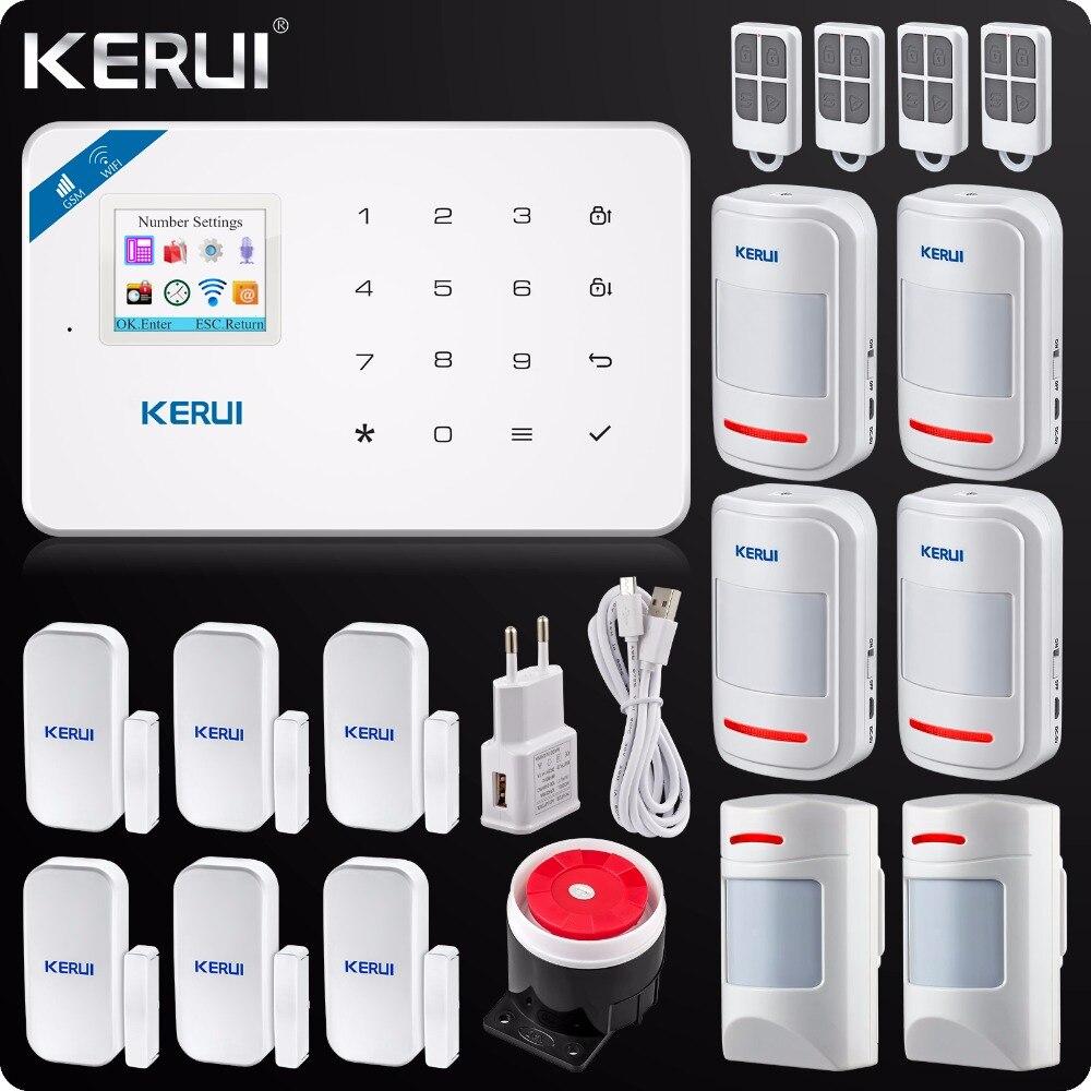 2018 Kerui W18 Sans Fil Wifi GSM IOS/Android APP Contrôle LCD GSM SMS Cambrioleur À La Maison Système D'alarme Pet Immunitaire PIR Détecteur