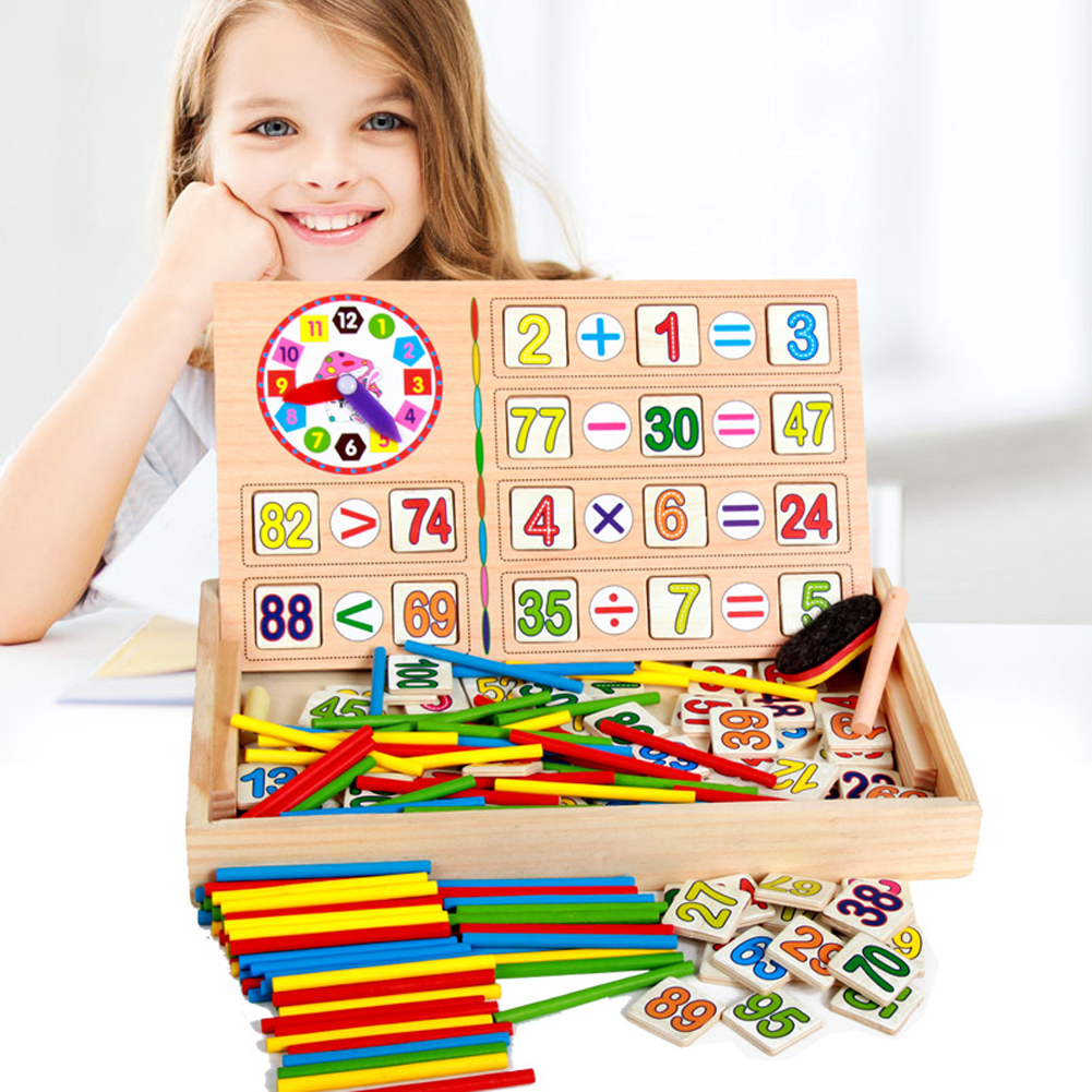 Children Wooden Mathematics Sticker Toy Kid Educational Number Math Calculate Game Toys Early Learning Counting Material wooden educational tool number building blocks number sticks kids math learning educational toy ao p