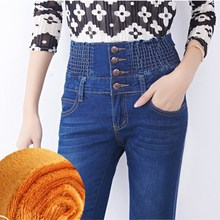 Oversized High Waist  Jeans 2019 Winter Warm Thickening Mom Jeans Stretch Skinny Denim Pencil Pants Snow Hot Trousers P9133 velvet stretching warm jeans woman skinny stretch denim trousers high waist jean pencil pants winter mom jeans cashmere wiccon