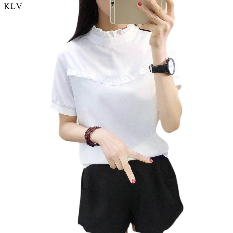 9a8a3f1f84 KLV New Hot Mulheres Blusa Branca Azul Top Camisa Femme Casuais Estande de Manga  Comprida Trabalho OL Blusas Mulheres Sliod das Camisas Blusa