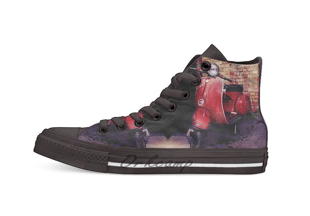 Italian Red Vespa Vespa Gt  Novelty Design Casual Canvas Shoes Custom Shoes Drop Shipping