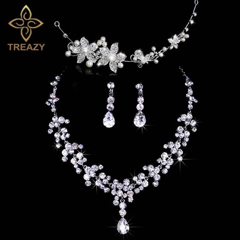 TREAZY Fashion Design Flower Crystal Pearl Bride 3pcs Set Necklace Earrings Headband Tiara Bridal Wedding Jewelry Set For Women classical malachite green round shell simulated pearl abacus crystal 7 rows necklace earrings women ceremony jewelry set b1303