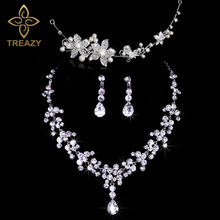 TREAZY Fashion Design Flower Crystal Pearl Bride 3pcs Set Necklace Earrings Headband Tiara Bridal Wedding Jewelry Set For Women