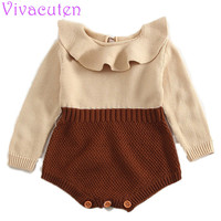 Newbron Baby Rompers Princess Girls Knitted Jumpsuits Toddler Girls Ruffles Collar Infant Overalls For Spring Autumn