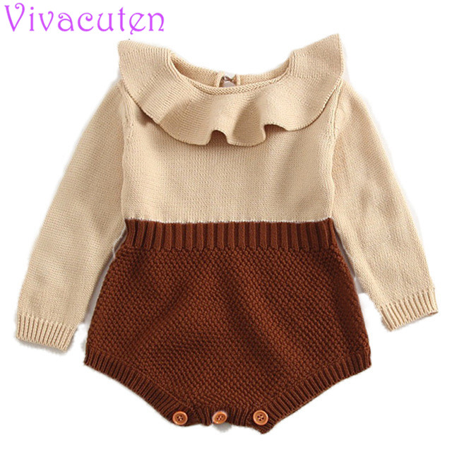 Newbron baby   rompers   princess girls knitted jumpsuits toddler girls ruffles collar infant overalls for spring autumn winter